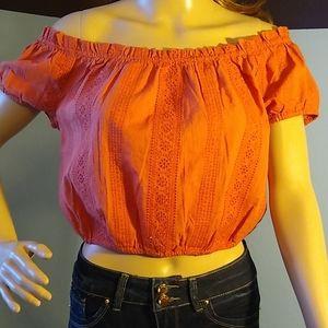 Tilly's burnt orange pheasant blouse